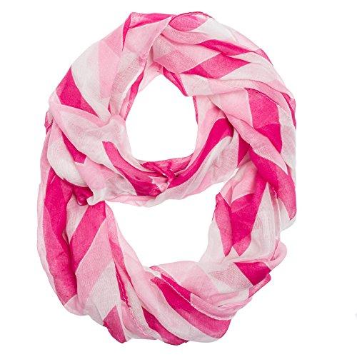 Chevron Zig Zag Infinity Scarf (Light Pink Fuschia & White)