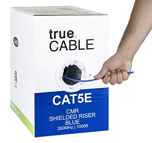 Cat5e Shielded Riser (CMR), 1000ft, Blue, 24AWG Solid Bare Copper, 350MHz, ETL Listed, Overall Foil Shield (FTP), Bulk Ethernet Cable, trueCABLE