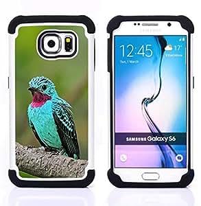 - mint green bird tropical purple feather - - Doble capa caja de la armadura Defender FOR Samsung Galaxy S6 G9200 RetroCandy
