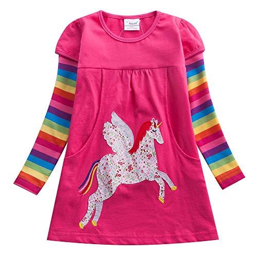 JUXINSU Winter Toddler Girl Flower Cotton Long Sleeve Dresses Animal Pony Butterfly Striped for Kids 1-6 Years (LH5806Fuchsia, 4T)