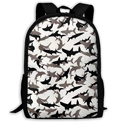 Boys Grils Rucksacks Back To School Gift - Shark Camo Bookbag College School Bookbag Travel Hiking & Camping Rucksack, Casual Daypack Climbing Shoulder Bag