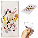 Qiaogle Phone Case - Soft TPU Silicone Case Cover Back Skin for Sony Xperia XZ / Sony Xperia XR (5.2 inch) - HC10 / Lip gloss + eyebrow pencil
