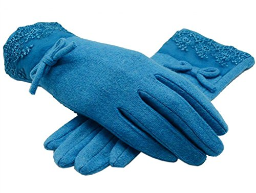 The Orient Bee Women's Unique Cashmere Gloves Mittens for Spring and Autumn(5 blue)