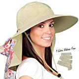 Womens Sun Hats Neck Flap Large Brim UV Protection Foldable Fishing Hiking Cap