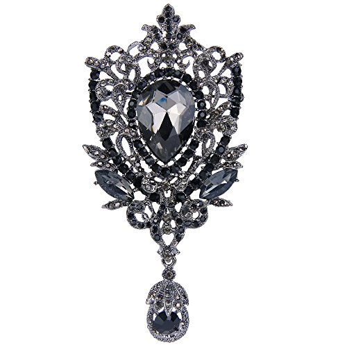 (EVER FAITH Silver-Tone Royal Flower Black Austrian Crystal Brooch Pendant)