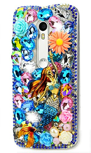 (STENES Motorola Moto Droid Turbo 2 Case, Luxurious Crystal 3D Handmade Sparkle Diamond Rhinestone Clear Cover Retro Bowknot Anti Dust Plug - Pretty Mermaid Flowers/Colorful)