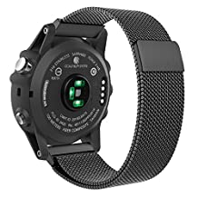 MoKo Watch Band for Garmin Fenix 3, Milanese Loop Stainless Steel Mesh Replacement Bracelet Strap for Fenix 3 / Fenix 5X Smart Watch with Unique Magnet Lock, No Buckle Needed, BLACK