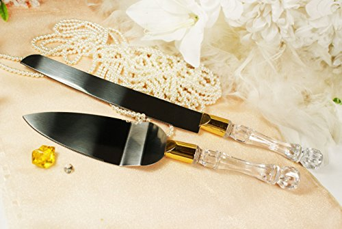 Wedding Knife and Wedding Cake Server Set Clear (Anniversary Cake Knife)