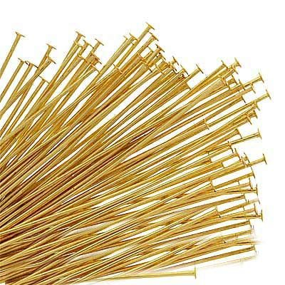 Gold Plated Head Pins - 22 Gauge, 1.5 Inches (50) UnCommon Artistry