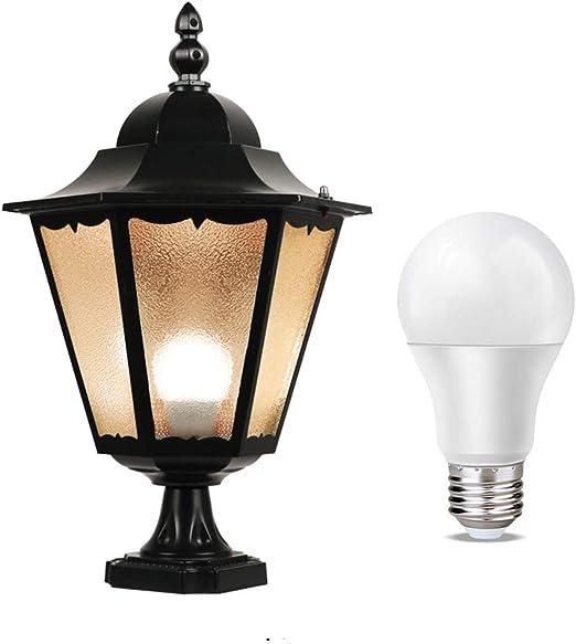 LMYMX Vintage Farolas LED para Exterior, Farol de LED 400LM, Luz de la Calle, Impermeable IP65 Iluminación, E27 Seguridad Aire Libre Luz de LED para Jardín, Paredes, Caminos: Amazon.es: Hogar