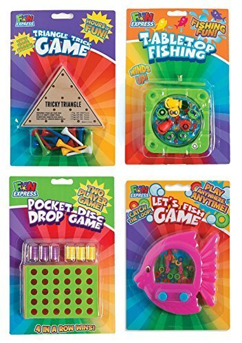 Travel Toys and Games for Car Rides or Road Trips Including Tabletop Fishing, Triangle Trick, Pocket Disc Drop and Let's Fish