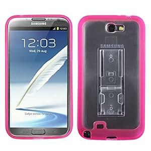 Caja protectora transparente pata de cabra MYBAT SAMGNIICASKGM3030NP suave gomoso para Samsung Galaxy Note 2 - 1 Pack - empaquetado al por menor - Claro / sólido de color rosa caliente