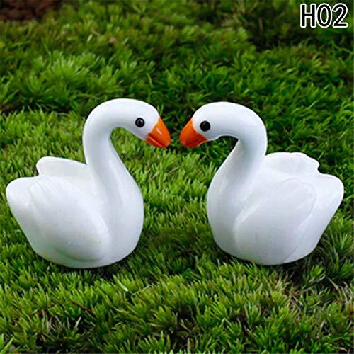MJ-Young Wall Stickers 2Pc/Lot White Swan Figures Decorative Mini Garden Animals Statue Jardin Miniature Moss Ornaments Resin Craft 2
