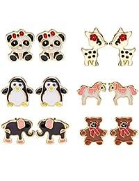 6 Style Enamel Cute Animals Stud Earrings Set For Kids Girls Hypoallergenic Nickel free