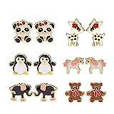 penguin pack - Fsmiling 6 Pairs Cute Enamel Unicorn Panda Penguins Deer Elephants Bears Stud Earrings Set for Girls