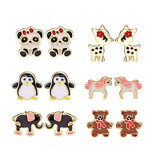 6 Pairs Cute Enamel Unicorn Panda Penguins Deer Elephants Bears Stud Earrings Set for Girls