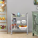 LANGRIA 3-Tier Mesh Wire Rolling Cart Multifunction Utility Cart Kitchen Storage Cart on Wheels,...