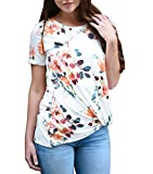 Blouse, Han Shi Women Fashion Sexy Casual Summer Floral Printing Blouse Ladies Girls O-Neck Short Sleeve Top Crop Vest Tank Cami Top Streetwear Camisole Outfit T-Shirt (S)