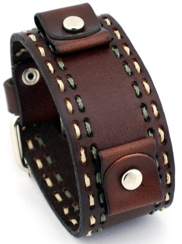 Nemesis #DBDT Burgandy Wide Leather Cuff Wrist Watch Band with Stitching