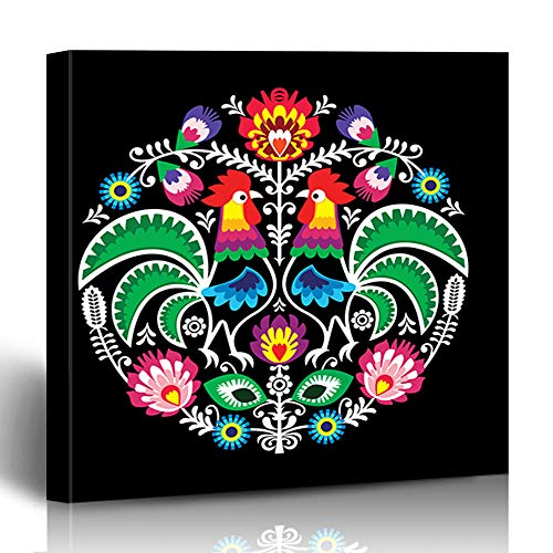 """Krezy Decor Canvas Print Wall Art Painting 8""""x8"""" Retro Chicken Polish Folk Floral Round Cock Vintage Primitive Circle Cockerel Design Tattoo Gallery Wrapped Artwork Home Living Room Office"""