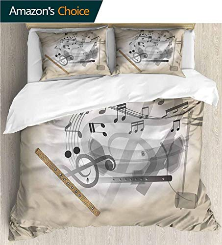VROSELV-HOME Full Queen Duvet Cover Sets,Box Stitched,Soft,Breathable,Hypoallergenic,Fade Resistant Kids Bedding-Does Not Shrink Or Wrinkle-Flute Thailand Music Harmony (104