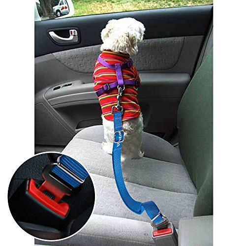 Vastar 2 Packs Adjustable Pet Dog Cat Car Seat Belt Safety Leads Vehicle Seatbelt Harness, Blue