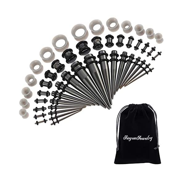 50 Pieces Ear Stretching Kit 14G-00G by Jiquan - Acrylic Tapers and Plugs + Silicone Tunnels - Ear Gauges Expander Set Body Piercing Jewelry