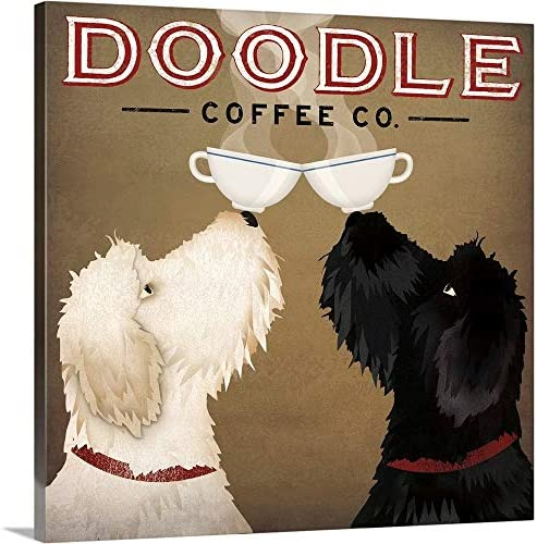 Doodle Coffee Double IV Canvas Wall Art Print