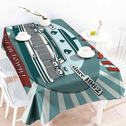 Homrkey Polyester Tablecloth 1960s Decor Vintage Graphic Design for a Car Wash Sign Commercial with Aged Classic Retro Arsty Texture Red Teal Table Decoration W40 xL60 -