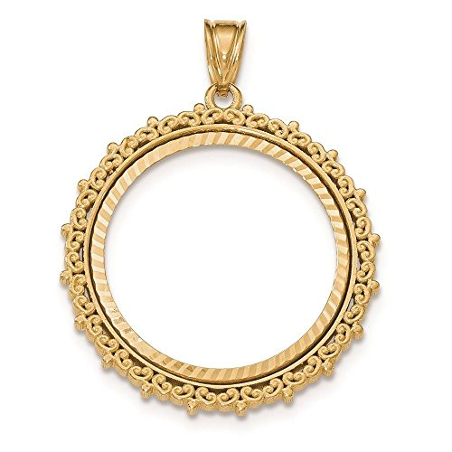 14K Yellow Gold Textured-cut Fancy Prong Set Bezel Coin Holder for 1/4 oz American Eagle