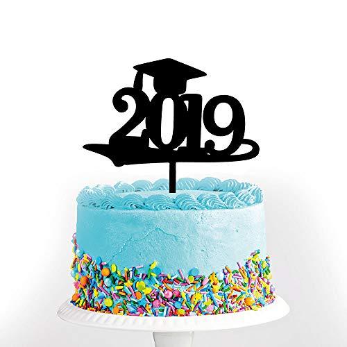Black Congrats Grad 2019 Graduation Cake Topper-Congrats Grad Party Decorations Supplies-High School Graduation, College Graduate Cake Topper]()