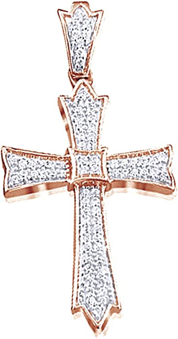 AFFY Round Cut White Natural Diamond Cross Pendant Necklace in 14K Gold Over Sterling Silver 0.07 Cttw