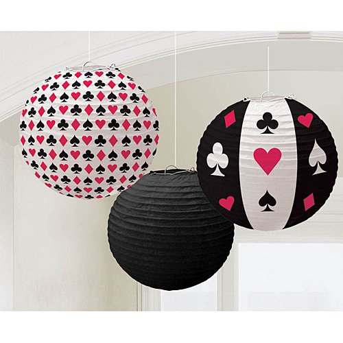 Casino Round Printed Paper Party Lanterns, 9.5