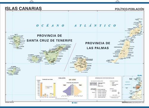 Mapa mural Islas Canarias impreso a doble cara Físico ...