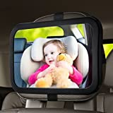 OMORC Baby Backseat Mirror, 360° Rotation 100% Shatterproof Rear View Baby Car Mirror with Adjustable Straps and Tilt Function Clear View of Infant in Rear Facing Car Seat [Safe drive with baby]
