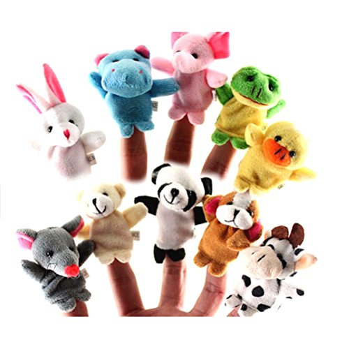Yonger 10 pcs Baby Tiny Animal Farm Finger Puppet Toy Cloth Toddler (Cartoon Baby Farm Animals)
