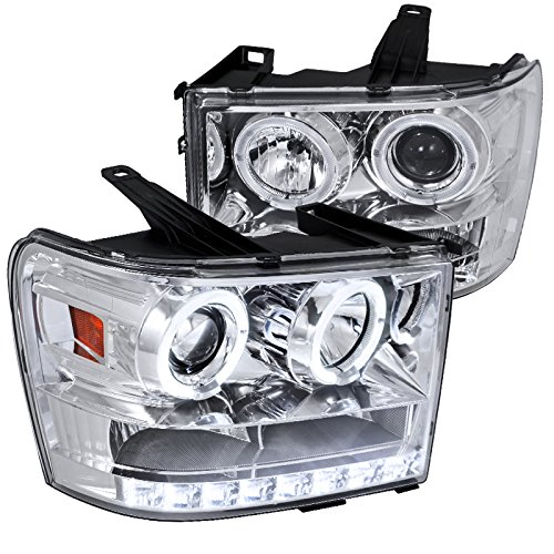 Spec-D Tuning 2LHP-SIE07-TM GMC Sierra 1500/2500/3500 Chrome Clear Halo LED DRL Projector Headlights