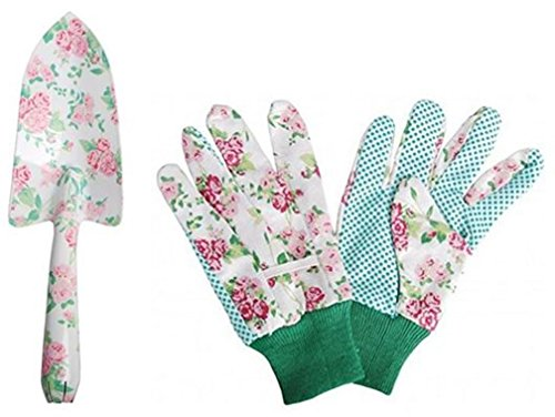 Esschert Design Rose Print Trowel and Cotton Gloves Garden Gift Set