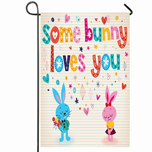 Ahawoso Outdoor Garden Flag 12x18 Inches Holiday Day Some Bunny Loves You Retro Heart Rabbit 50S 60S Blush Design Note Seasonal Home Decorative House Yard Sign ()