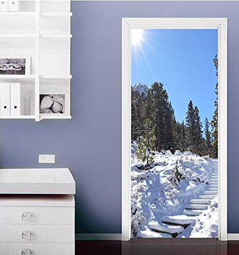 "3D Pine Snow 45 Door Wall Mural Photo Wall Sticker Decal Wall | Self-adhesive 3D Door Wall Mural , AJ WALLPAPER US Lemon (Vinyl (No Glue & Removable), 【81""x32""】205x82cm(HxW)) by AJ WALLPAPER"