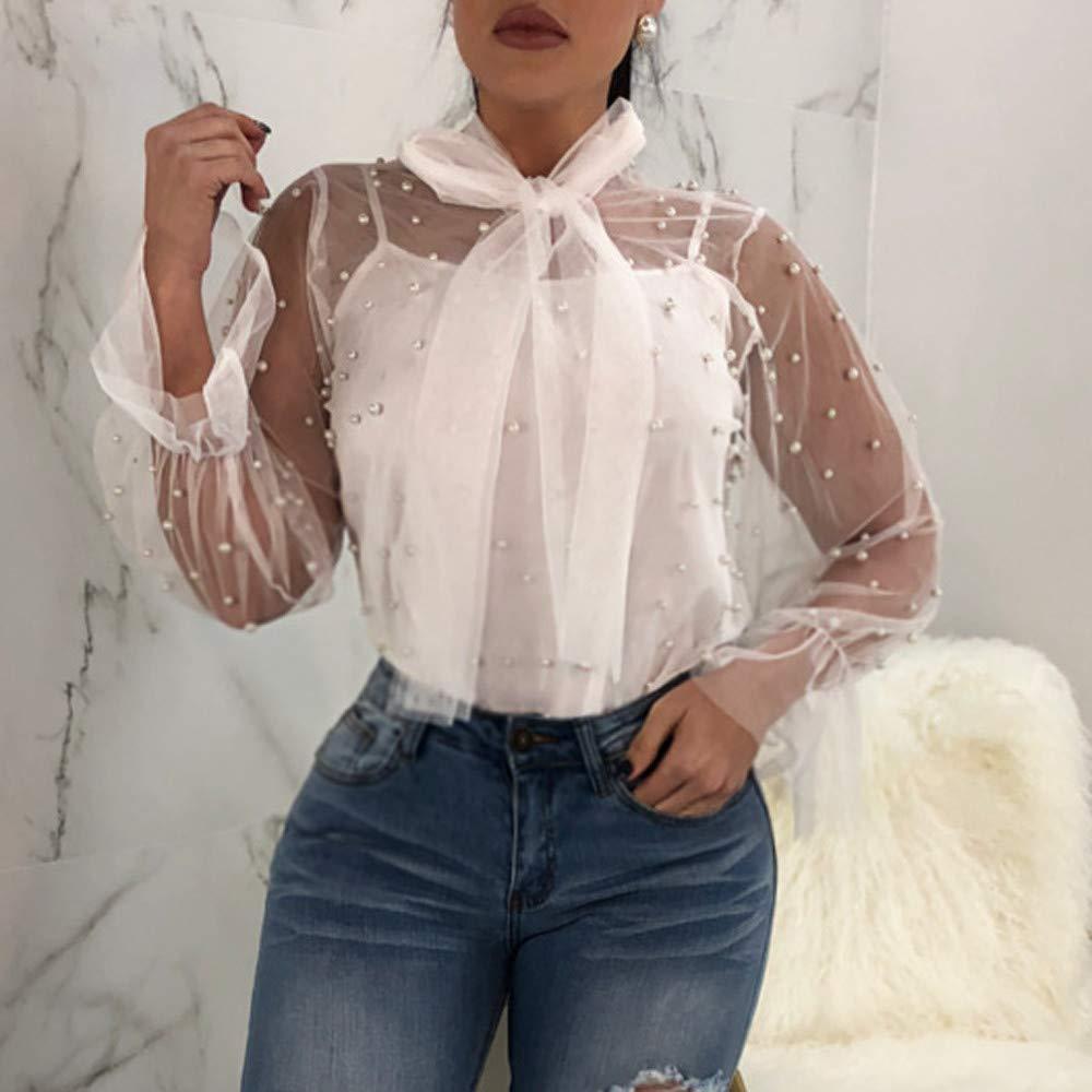 ZODOF Tops Mujeres Camisetas Mangas Largas Hombros Expuestos Ropas Mujeres Señoras con Encaje Blusa Camisetas de Color Puro Camisetas Sueltas Verano Otoño: ...