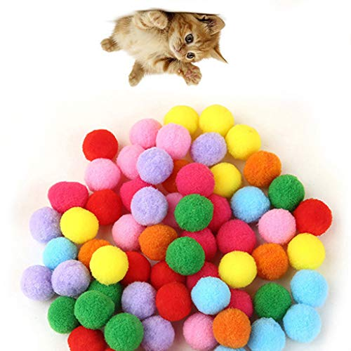 (50 / 100Pcs Colored Plush Ball Dog Cat Bird Pet Toy Plush Ball Toy Ball 2019 (3.5 cm, 100pcs))