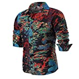 Hot Sale Men Shirts vermers Personality Men's Casual Slim Long Sleeve Printed Shirt Top Blouse(2XL, Multicolor)