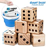 Giant Wooden Yard Dice – Splinter-Free and Crack-Proof Wood – Jumbo Size with Collapsible Bucket - 2 Dry Erase