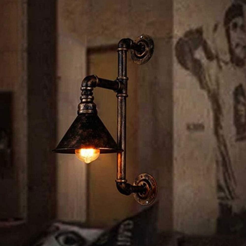 Rjj Industrial Rústico Personalidad Dormitorio Lámpara De Cabecera Escalera Luz Cabeza Solitaria Tubería De Agua Iluminación Antiguo Forjado Vintage Lámpara De Pared De Hierro Estable