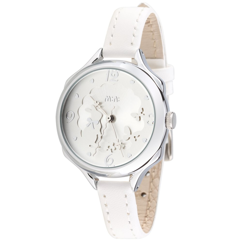 Mini Leather Fashion Lovely Rabbit Cute Butterfly Lace-side Girls Watch White