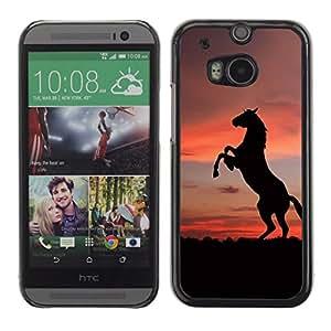 HTC One M8 , Radio-Star - Cáscara Funda Case Caso De Plástico (Sunset Mustang Horse)