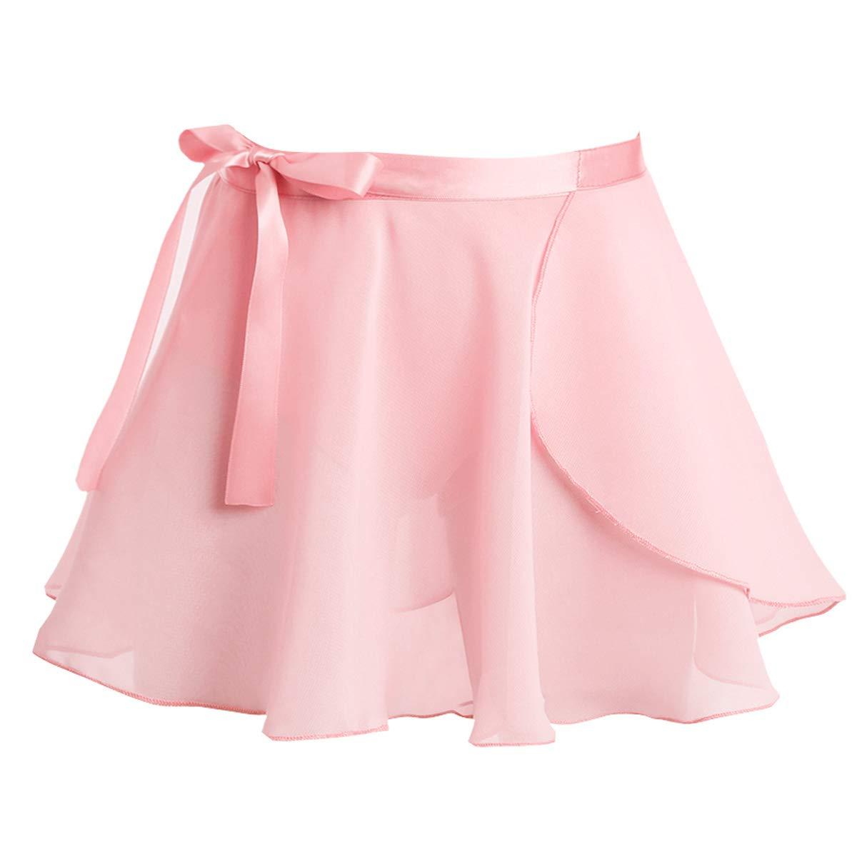 TiaoBug Girls' Ballet Wrap Skirt with Tie Waist Chiffon Basic Wrap Tutu Dancewear Costumes Pink 3-4