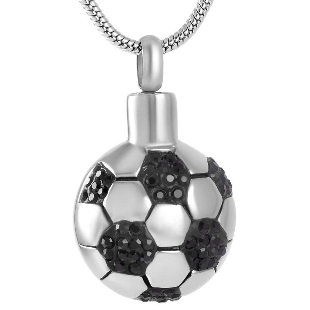 Collar de acero inoxidable con forma de balón de fútbol: Amazon.es ...