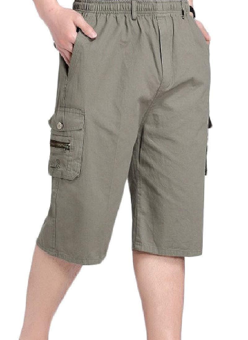 HEFASDM Mens Workout Plus Size Beach Summer Pocket Capri Pants Short